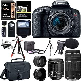 Canon EOS Rebel T7i EF-S 18-55 is STM Camera Kit, EF 75-300mm III, Lexar 633x U3 64GB, XIT Wide Angle, Telephoto Lens, Ritz Gear 57