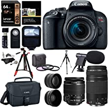 Canon EOS Rebel T7i EF-S 18-55 is STM Camera Kit, EF 75-300mm III, Lexar 633x U3 64GB, XIT Wide Angle, Telephoto Lens, Ritz Gear 57