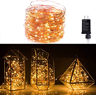 Minetom Fairy Lights Plug in, 100Ft 300LED Waterproof Firefly Lights on Copper Wire - UL Adaptor Included, Starry String L...