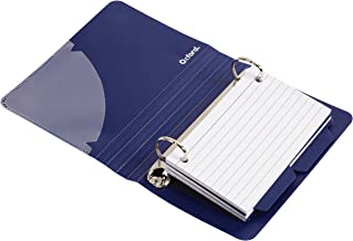 Oxford Poly Index Card Binder, 3 x 5 Inches, Color Will Vary, 73569, Includes 50 Pre-Punched Cards