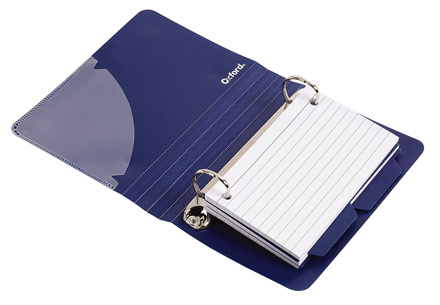 Oxford Poly Index Card Binder, 3 x 5 Inches, Color Will Vary, Includes 50 Pre-Punched Cards (73569)
