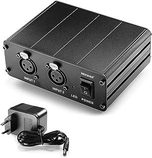 Neewer® 2-Canal 48V Phantom Fuente de Alimentación con Adaptador de Energía para Micrófonos de Condensador, Transferencia de Señales de Sonido a Tarjeta de Sonido Externa
