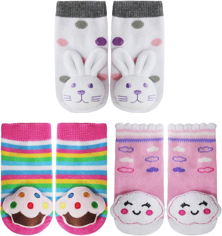 PUPPET Baby Girl Rattle Socks, Cotton Booties, Gift Set