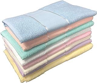Tex Family - Juego de 2 toallas (1 toalla de manos y 1 toalla de cortesía para invitados) de rizo de algodón 100% y franja...