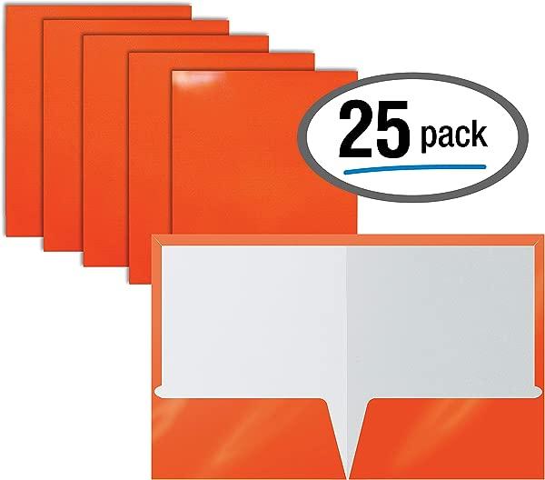 2 Pocket Glossy Laminated Orange Paper Folders Letter Size Orange Paper Portfolios By Better Office Products Box Of 25 Orange Folders