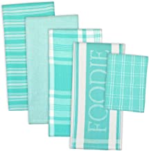 DII 100% Cotton, Ultra Absorbent, Washing, Drying, Foodie Kitchen Dishtowel 18 x 28 & Dishcloth 13 x 13, Set of 5- Aqua