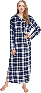 Image of Latuza Long Plaid Flannel Nightgowns for Women - More Colors Available