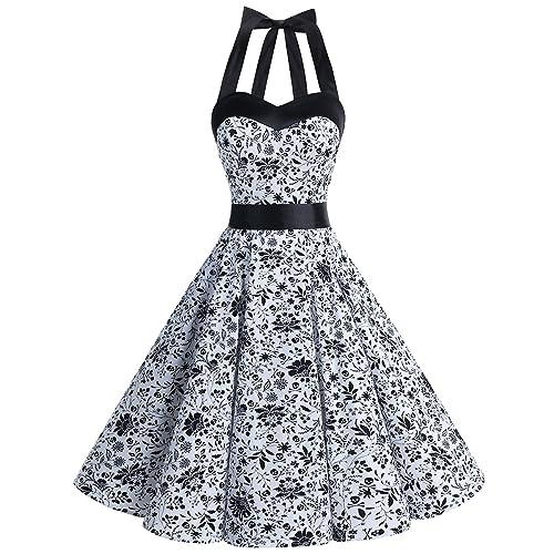610aeca878d DRESSTELLS Vintage 1950s Rockabilly Polka Dots Audrey Dress Retro Cocktail  Dress