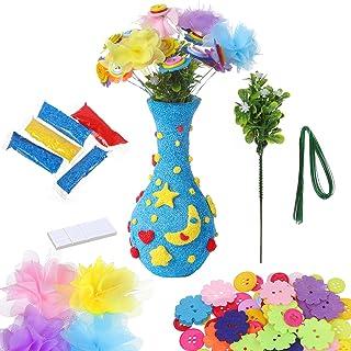 Diealles Shine DIY Botones Florero Kit, Artes y Manualidades Kit Florero de DIY para Niños Años Niña, Estilo 2