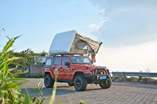 『CampGear正規品』最大4人まで泊まれるファミリールーフトップテント ハシゴを引くだけの簡単設営!ルーフトップテント,開閉設置が短時間,ハードシェルタイプ,耐久性、断熱性も抜群,SUVテント,最大4人のルーフテント