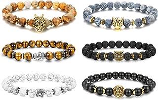 Finrezio 6Pcs Men Bead Bracelets Set Dragon/Lion/Panther/Owl/Elephants/Buddhas Charm Lava Rock Natural Stone Bracelet 8MM (Style B: 6Pcs of Elastic)