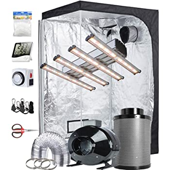 "TopoGrow Grow Tent Complete Kit Sunlike Liner 1200W LED Grow Light 4 Strips Full Spectrum,Indoor 48""X48""X80"" Mylar Grow Tent,6''Ventilation Kit with Hydroponic Accessories"
