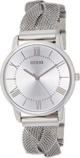 GUESS W1143L1 Strass Braid-Mesh Round Stainless Steel Analog Watch for Women - Silver