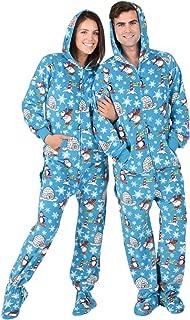 Footed Pajamas - Winter Wonderland Adult Hoodie Drop Seat Fleece Onesie
