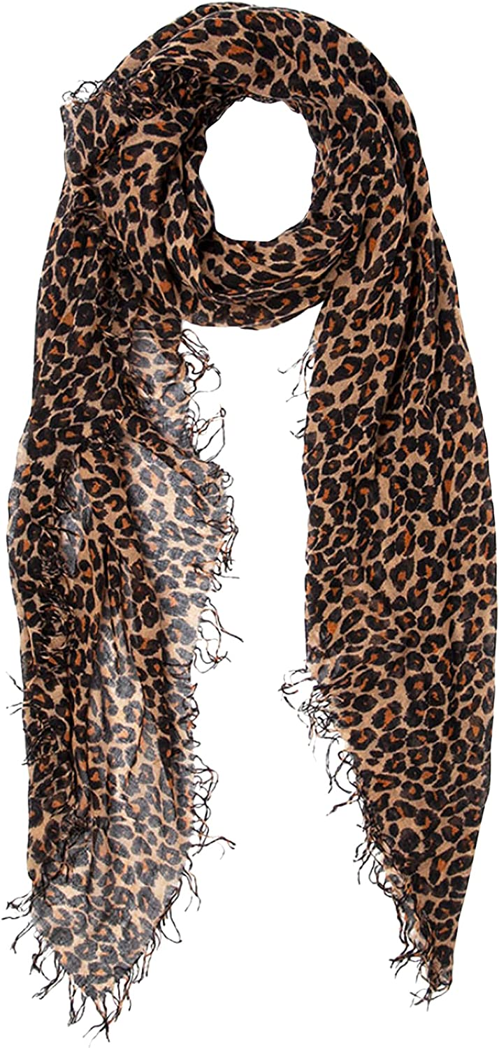 Chan Luu Roasted Pecan Classic Leopard Print Cashmere and Silk Scarf