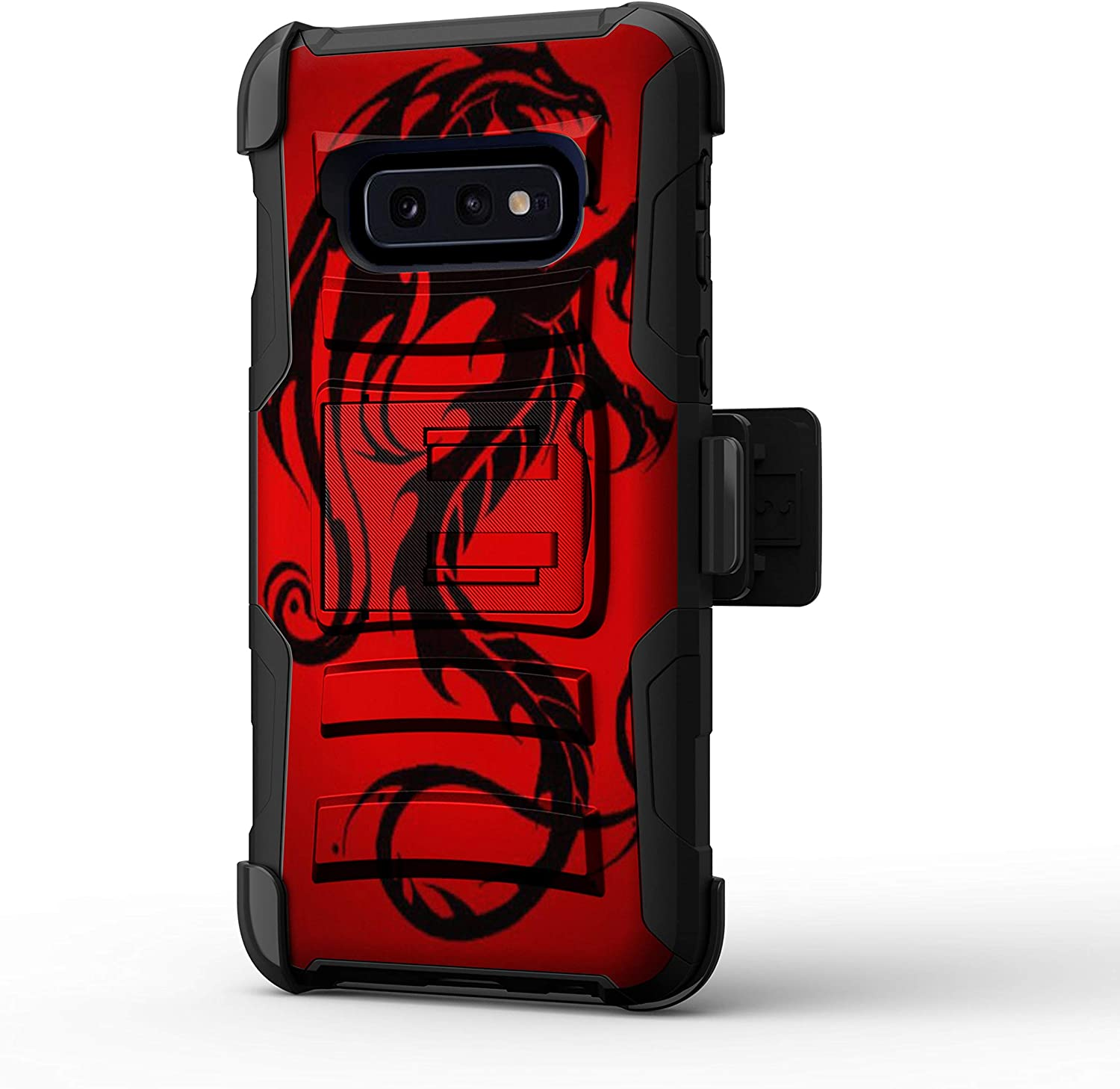 TurtleArmor   Compatible for Samsung Galaxy S10e Case   G970 [Hyper Shock] Hybrid Dual Layer Armor Holster Belt Clip Case Kickstand - Red Dragon