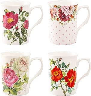 Grace Teaware Bone China Coffee Tea Mugs 9-Ounce, Assorted Set of 4 (English Tea Floral)