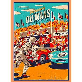 ABLERTRADE Plaque en m/étal 20,3 x 30,5 cm 1955-24 Heures Le Mans France Automobile Race Car Publicit/é Vintage Metal Poster Wall Decor Sign