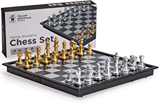 Yellow Mountain Imports Travel Magnetic Chess Set (9.7 Inches) – Folding, Portable,..