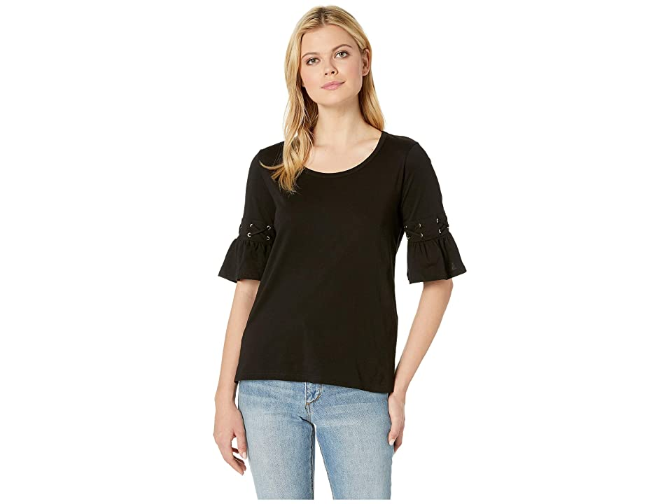 MICHAEL Michael Kors Laced Sleeve Flare Tee (Black) Women