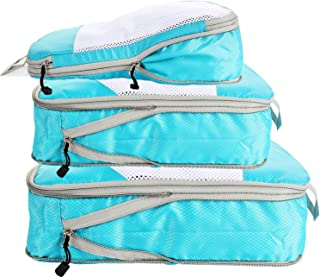 Compression Packing Cubes for Travel,5 Set Extensible Storage Mesh Bags Organizers,Travel Cubes for Packing (Blue)