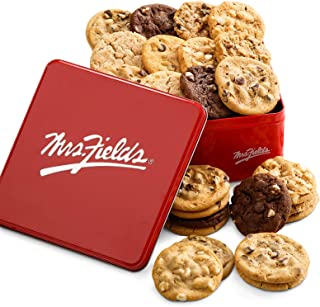 Mrs. Fields Cookies Two Full Dozen Signature Cookie Tin (24 Count) Includes 5 Different Flavors - Perfect Gift for any Hol...