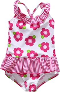 86415dbb4e ALove Baby Girl s Floral One Piece Striped Ruffle Swimsuit