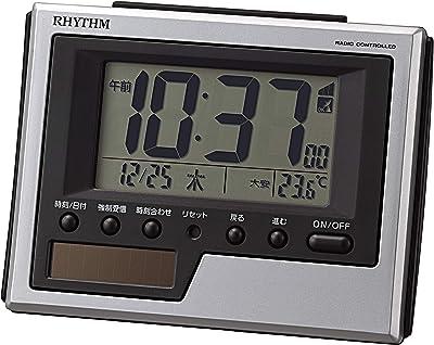 リズム(RHYTHM) 置き時計 シルバー 8.3x10.8x4.5cm 目覚まし時計 電波時計 ソーラー 補助電源 温度 カレンダー 8RZ215SR19