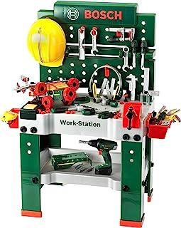Theo Klein 8485 Banco de trabajo, 150 piezas, Incluye destornillador eléctrico, set de construcción, máquina amoladora y mucho más, Destornillador eléctrico con luz y sonidos realistas a pilas