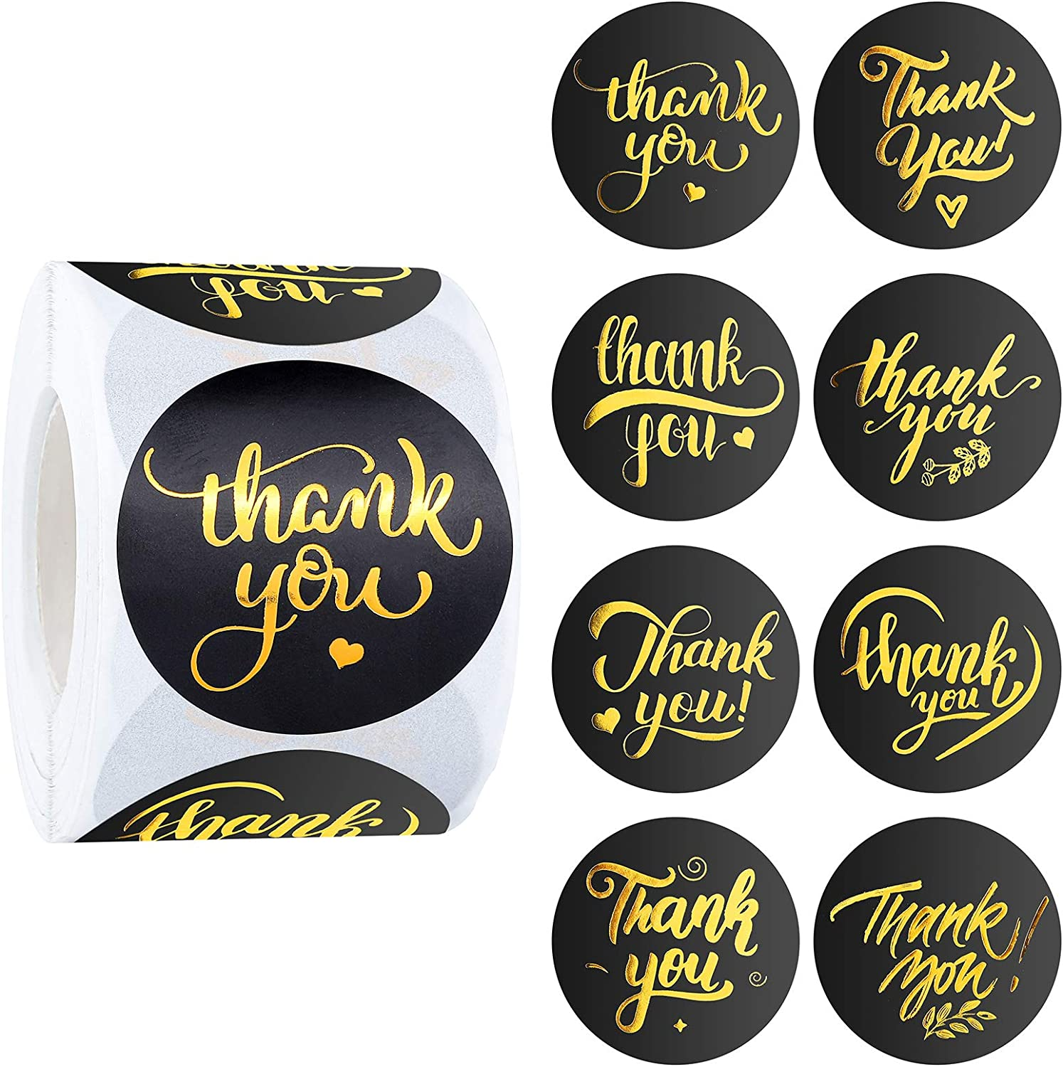 Elcoho 500 Pieces 2 Inches Thank You Stickers Thank You Labels Black and Gold Stickers in 8 Designs for Birthdays, Weddings, Giveaways, Bridal Showers
