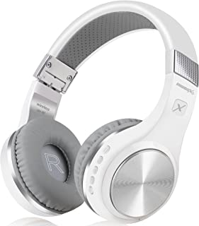 Bluetooth Headphones, Riwbox XBT-80 Folding Stereo Wireless Bluetooth Headphones Over Ear with Microphone and Volume Control, Wireless and Wired Headset for PC/Cell Phones/TV/Ipad (Sliver White)