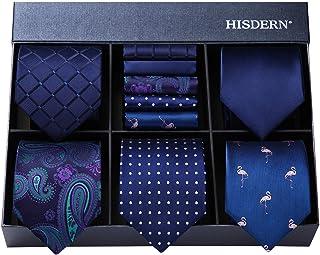 HISDERN Men's Necktie Collections, Lot 5 PCS Classic Men's Silk Tie Set Necktie & Pocket Square with Gift Box