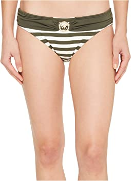 MICHAEL Michael Kors - Stable Stripe Logo Ring Classic Bikini Bottoms