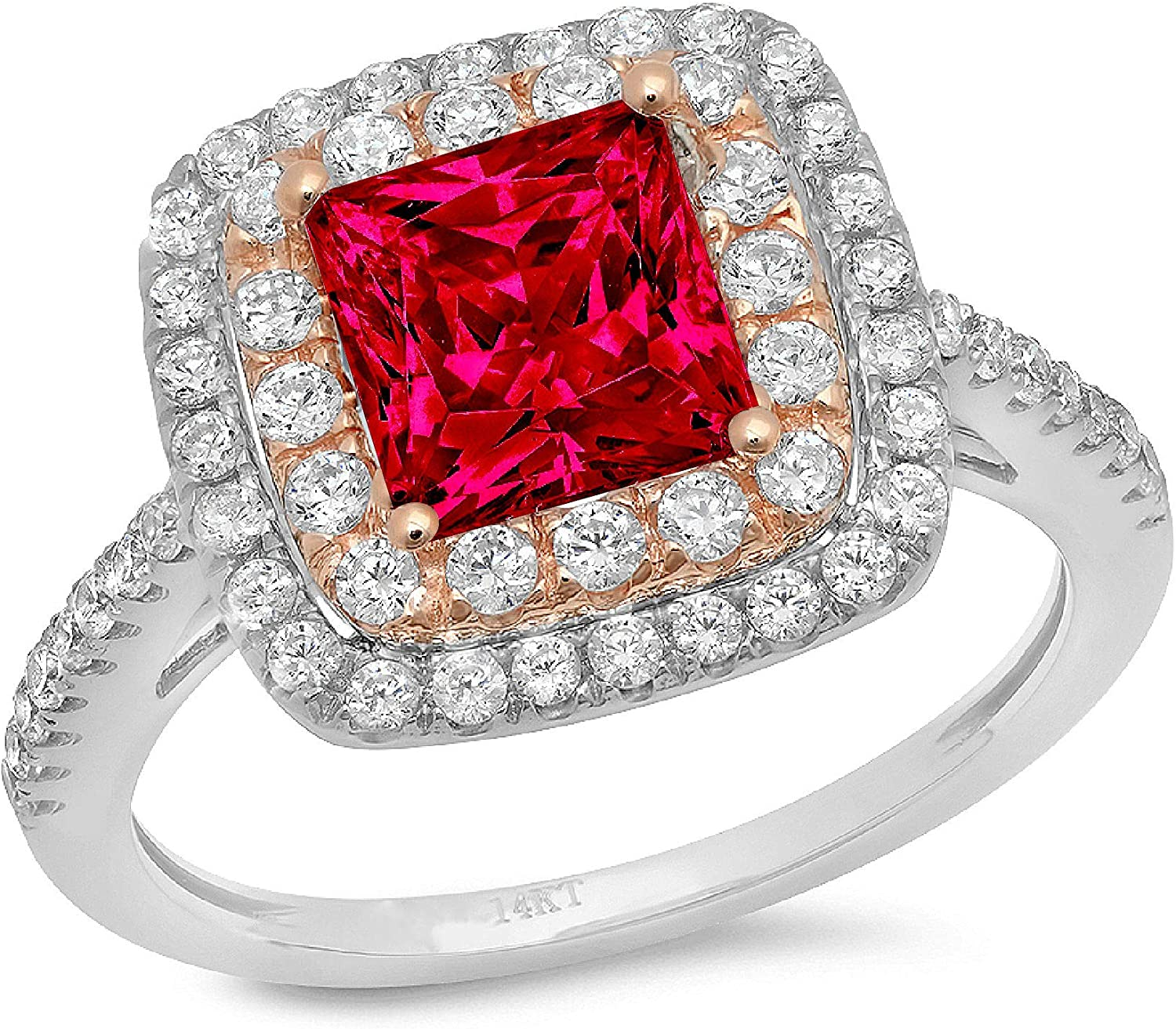 2.33ct Princess Cut Large special price !! Double Halo Solitaire Flawless Free shipping New Accent S with
