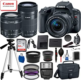 Canon EOS Rebel SL2 DSLR Camera with 18-55mm and 55-250mm Lenses 19PC Professional Bundle Package Deal –SanDisk 64gb SD Card + Canon Shoulder Bag+ More