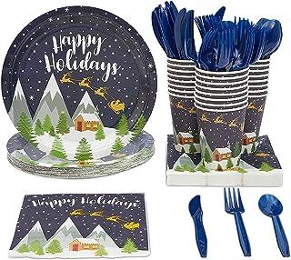 مجموعة أواني طعام هابي هوليدايز، أطباق ورقية، أدوات مائدة بلاستيكية، أكواب، ومناديل (تقدم 24، 144 قطعة)