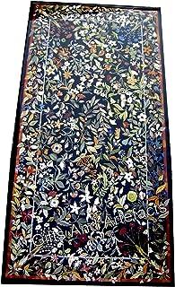 Gifts And Artefacts Dessus de table de salle à manger en marbre noir 91,4 x 182,9 cm avec motif floral - Artisanat ancien