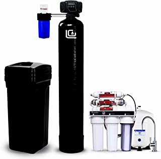 LiquaGen Complete Home Water Filtration Kit - Fleck Controlled Water Softener + Carbon Pre Filter + Under sink pH Anti-oxidant RO Drinking Water Filter System + Hardness Test Kit
