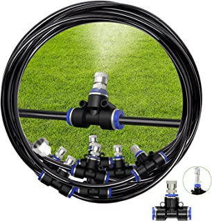 REDTRON Mist Cooling System, 50FT Cooling Mister with 20 Misting Nozzles, Outdoor Misting Kit for Patio Garden Greenhouse ...
