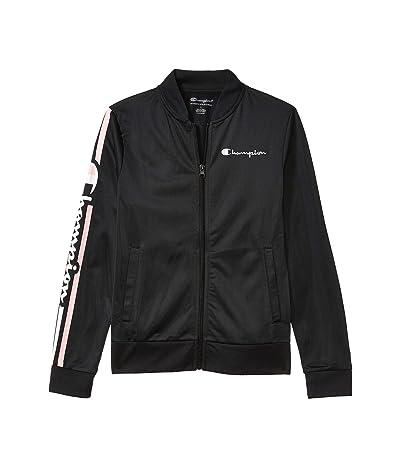 Champion Kids Sleeve Full Zip Track Jacket (Big Kids) (Black) Girl