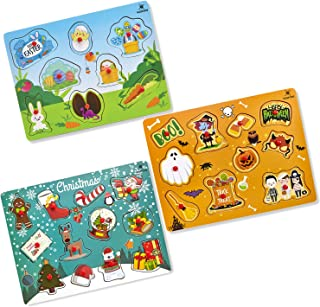 Gleeporte Easter Wooden Peg Puzzles, Holiday Theme   Pack of 3 Learning Educational Pegged Puzzle Boards for Toddler & Kids   Ideal Gift Easter