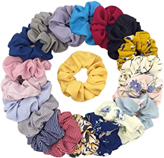 20 Pieces Chiffon Flower Hair Scrunchies Hair Ties Striped Hair bands Ponytail Holder Hair Accessories for Girl Women,20 Colors