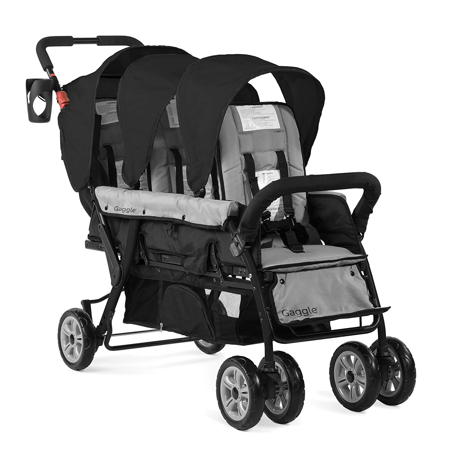 Gaggle Compass 3-Seat Tandem Stroller Large shipfree discharge sale with 5-Point Canopy Harne