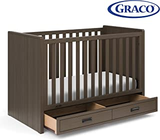 Stork Craft Graco Cottage 3-in-1 Convertible Crib with Drawer (Slate Gray) - Easily Converts to Toddler Bed and Daybed