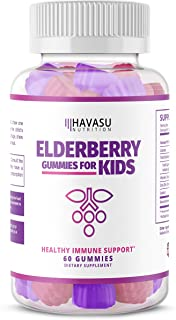 Havasu Nutrition Elderberry Gummies for Kids 50mg - Immune System Support - Premium Natural Ingredients - NO Gelatin, NO Fructose Corn Syrup, Gluten Free - Natural Ingredients - 60 Gummys
