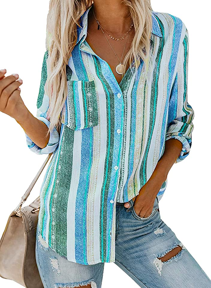 Women Long Sleeve Blouse Casual Summer V Neck Striped Button Down Tunic Tops Shirts