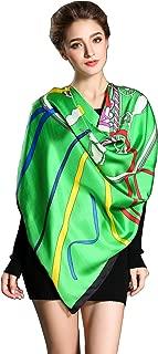 "Spring Air Women's 100% Silk Scarf, Large Square Fashion Wrap Headscarf 55.1"""