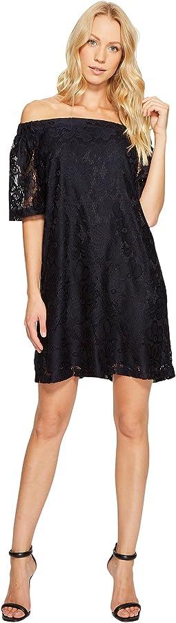 Off the Shoulder Short Sleeve Knit Lace Shift Dress