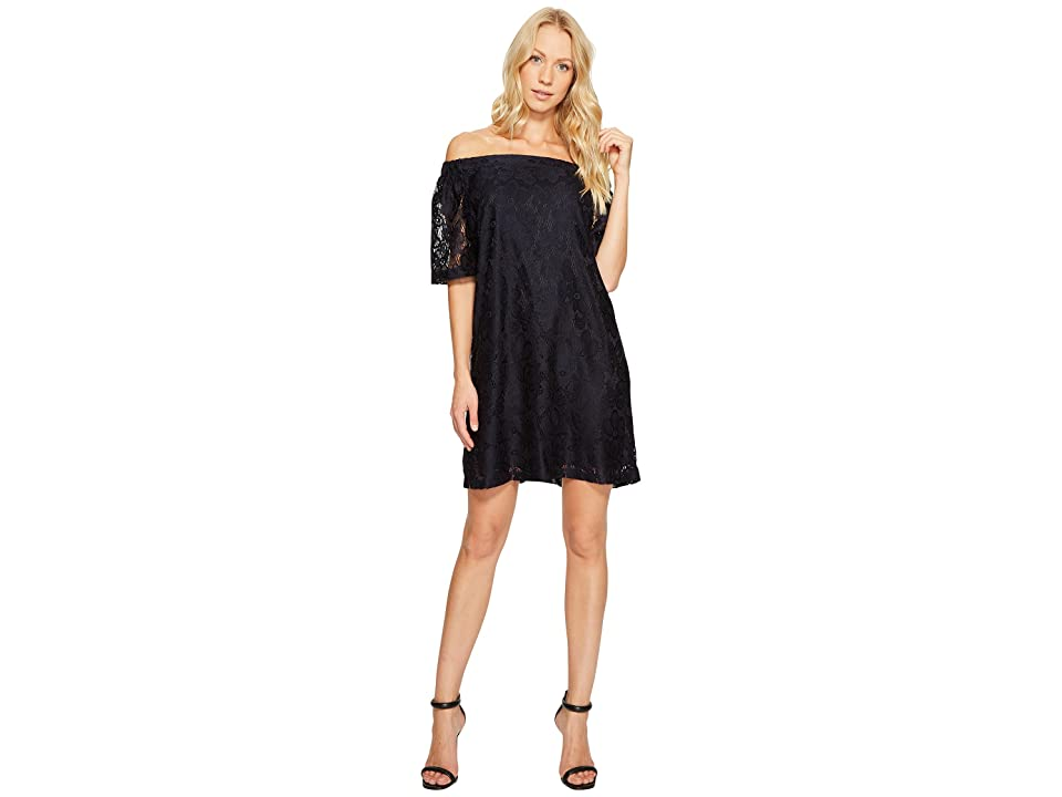 Donna Morgan Off the Shoulder Short Sleeve Knit Lace Shift Dress (Marine Navy) Women