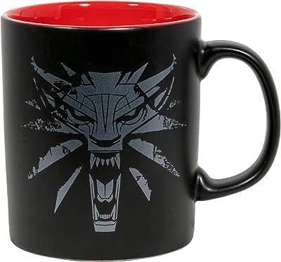 JINX The Witcher 3 White Wolf Medallion Ceramic Coffee Mug, Black/Red, 11 ounces